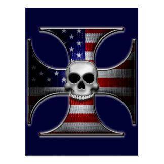 American Flag Iron Cross with Skull Postcard