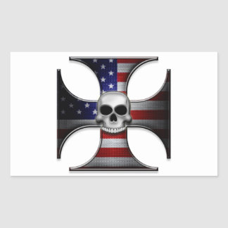 American Flag Iron Cross with Skull Rectangular Sticker