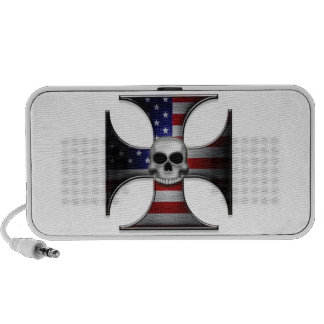 American Flag Iron Cross with Skull Mp3 Speaker