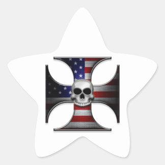 American Flag Iron Cross with Skull Star Sticker