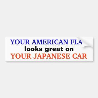 """AMERICAN FLAG / JAPANESE CAR"" Bumpersticker Car Bumper Sticker"
