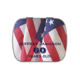 American Flag Jelly Belly Candy Tin 60th Birthday