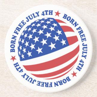 American Flag July 4th Beverage Coasters