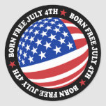American Flag July 4th Classic Round Sticker
