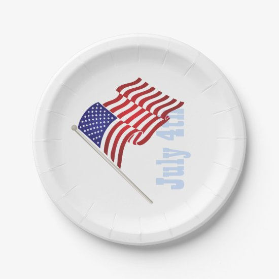 American Flag, July 4th Paper Plates