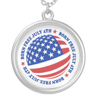 American Flag July 4th Round Pendant Necklace