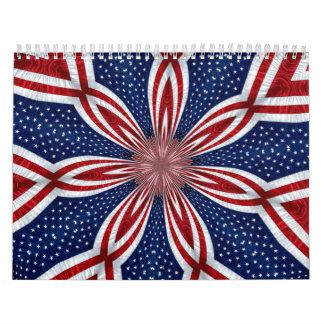 American Flag Kaleidoscope Abstract 1 Calendar