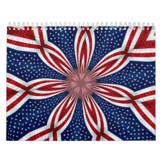 American Flag Kaleidoscope Abstract 1 Calendar
