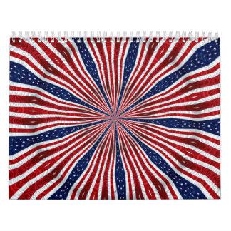 American Flag Kaleidoscope Abstract 2 Calendar
