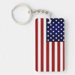 American Flag Keychain Rectangle Acrylic Key Chain