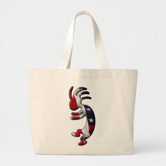 American Flag Kokopelli Large Tote Bag