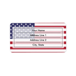 American flag personalized address label