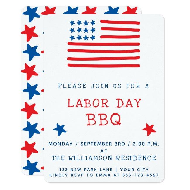 American Flag | Labor Day BBQ Invitation