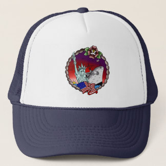 American Flag Lady Liberty USS Emory S. Navy Trucker Hat