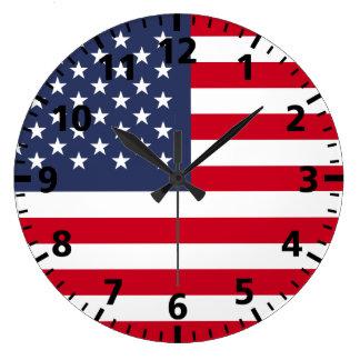 American Flag Large Clock