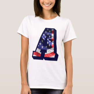 """American Flag Letter """"A"""" T-Shirt"""