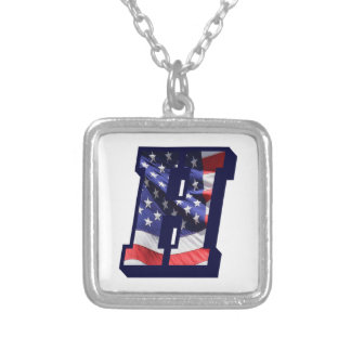 """American Flag Letter H"""" Silver Plated Necklace"""