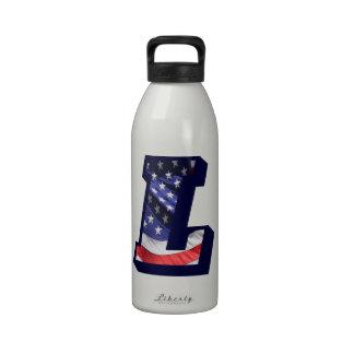 """American Flag Letter """"L"""" Drinking Bottle"""