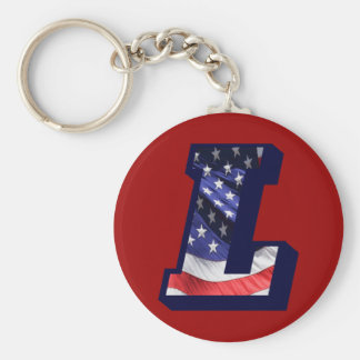 """American Flag Letter """"L"""" Keychain"""