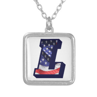 """American Flag Letter """"L"""" Silver Plated Necklace"""