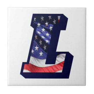 "American Flag Letter ""L"" Small Photo Ceramic Tile"