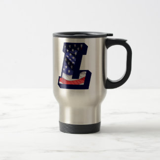 "American Flag Letter ""L"" Travel Mug"