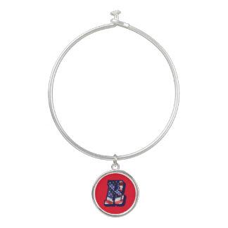 """American Flag Letter """"R"""" Bangle Bracelet & Charm"""