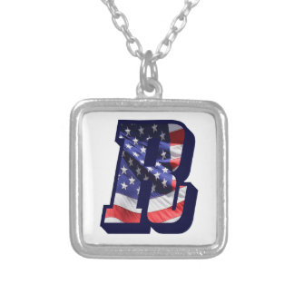 """American Flag Letter R"""" Silver Plated Necklace"""