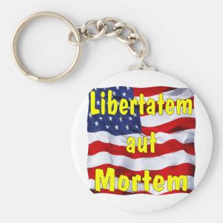 American Flag Libertatem aut Mortem (Latin for Basic Round Button Keychain