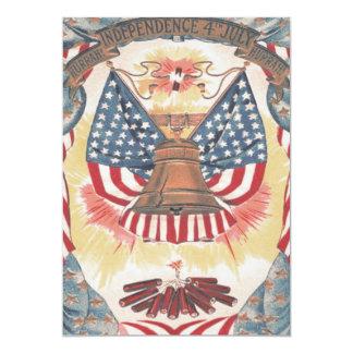 American Flag Liberty Bell Fireworks Card