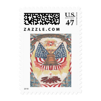 American Flag Liberty Bell Fireworks Postage Stamp