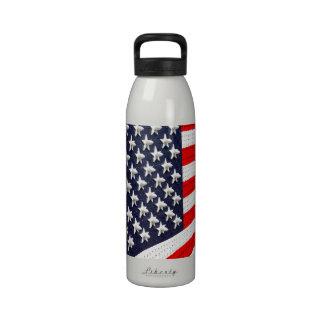 American Flag Light Display Reusable Water Bottle