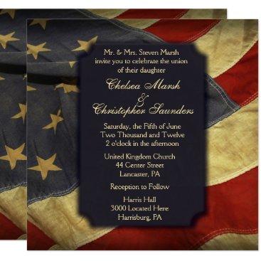 USA Themed American Flag Light Text Wedding Invitations