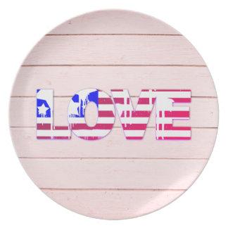 American Flag Love Dinner Plate