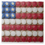 American flag made of cupcakes large square tile