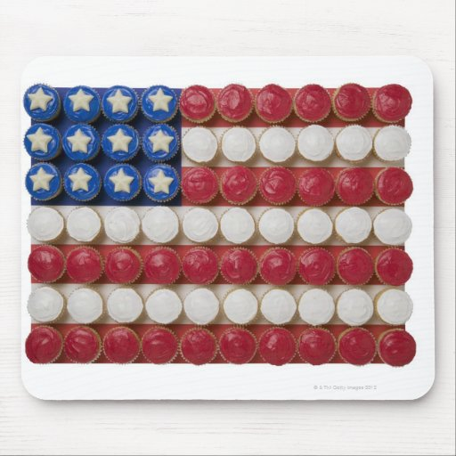 American flag made of cupcakes mousepad