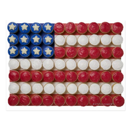 American flag made of cupcakes post cards