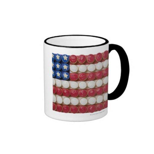 American flag made of cupcakes ringer coffee mug