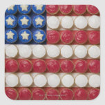 American flag made of cupcakes square sticker