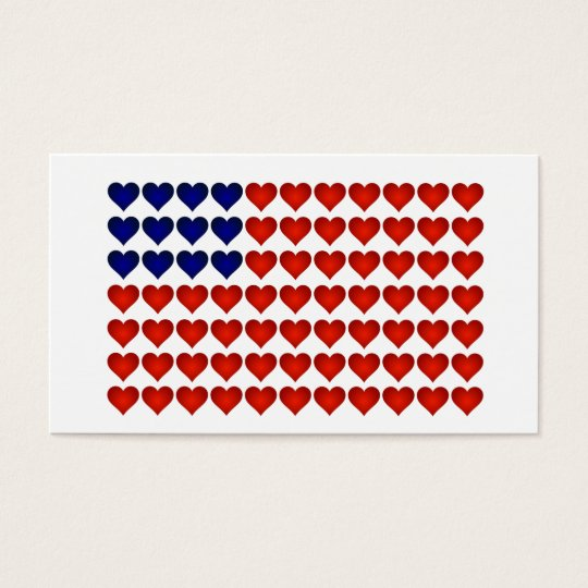 American Flag Made of Hearts Business Card