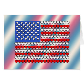 American Flag Made of Hearts Greeting Card