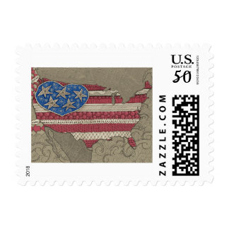 American Flag Map Doodle Art Stamps