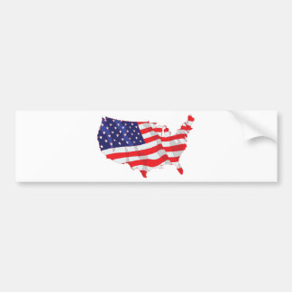 AMERICAN FLAG MAP OF UNITED STATES BUMPER STICKER