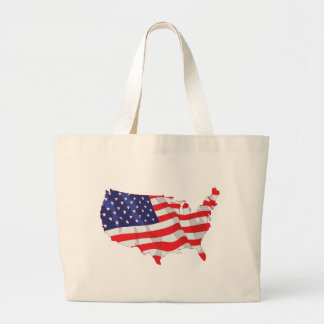 AMERICAN FLAG MAP OF UNITED STATES LARGE TOTE BAG