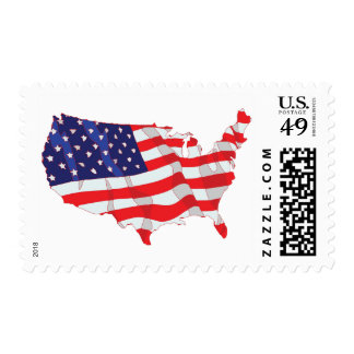 AMERICAN FLAG MAP OF UNITED STATES POSTAGE