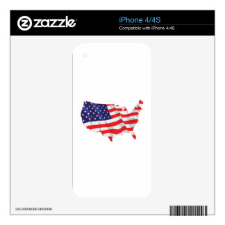 AMERICAN FLAG MAP OF UNITED STATES SKIN FOR iPhone 4S