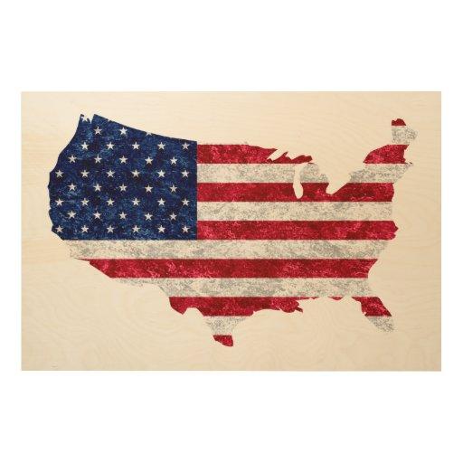 American flag map wood wall art zazzle American flag wood wall art
