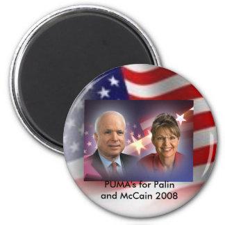 american flag, mccainandpalinsticker, PUMA's fo... 2 Inch Round Magnet