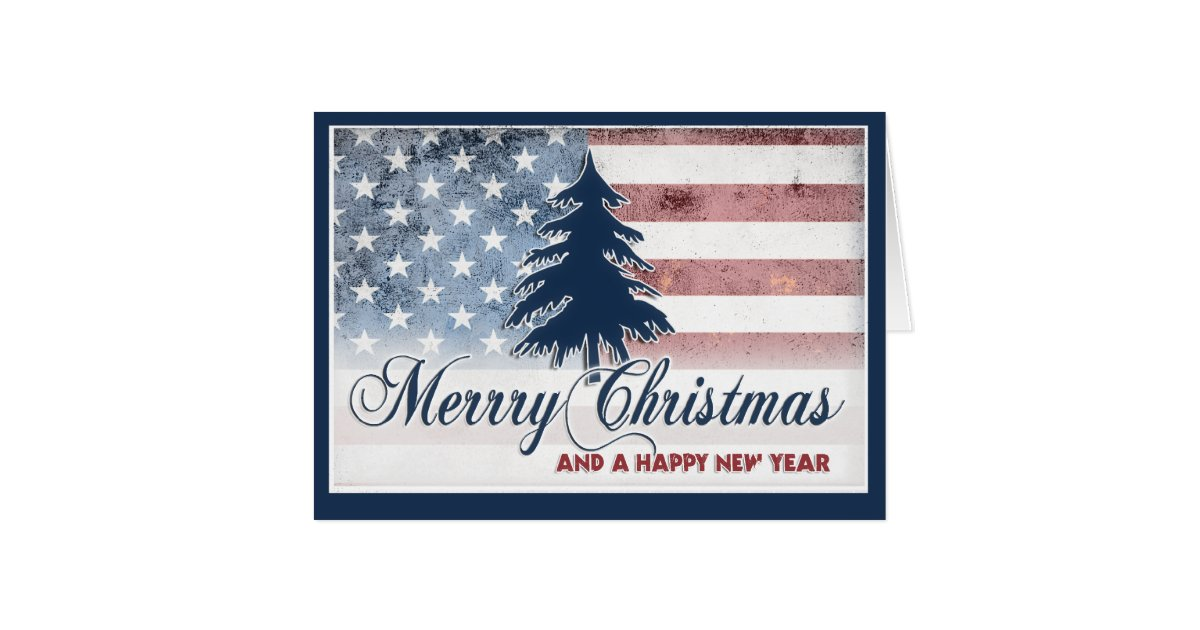 American Flag Merry Christmas Card Zazzle
