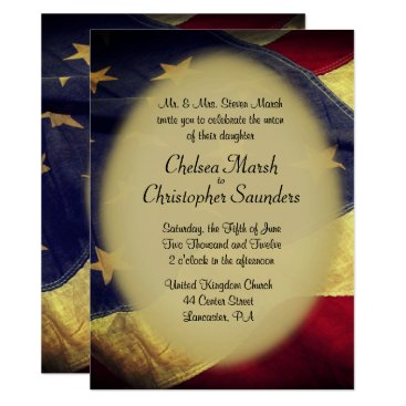 USA Themed American Flag Military Wedding Invitation